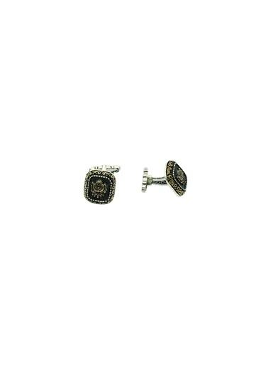Aykat Osmanlı Sancaklı Kol Düğmesi Gümüş Otantik Erkek Kol Düğmesi Kol-14 Siyah